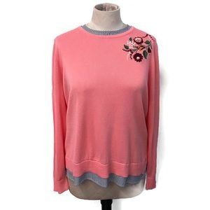 Crown & Ivy || Pink Embroidered Sweater || NWT